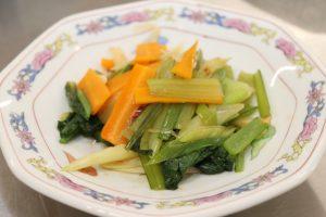 白ねぎと小松菜のオイスターソース炒め